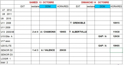 Week end 13 et 14/10